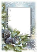 Зимняя рамка - Белочка на ели